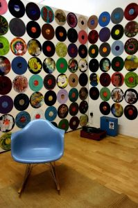 Ewaste Art - Record Wall